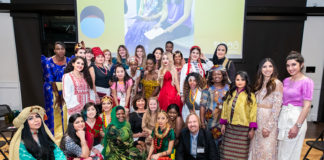 Participants and staff at the 2020 Women of the World Fashion Show