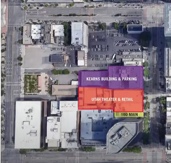 Salt Lake City redevelopment map showing current location of Utah Theater and retail