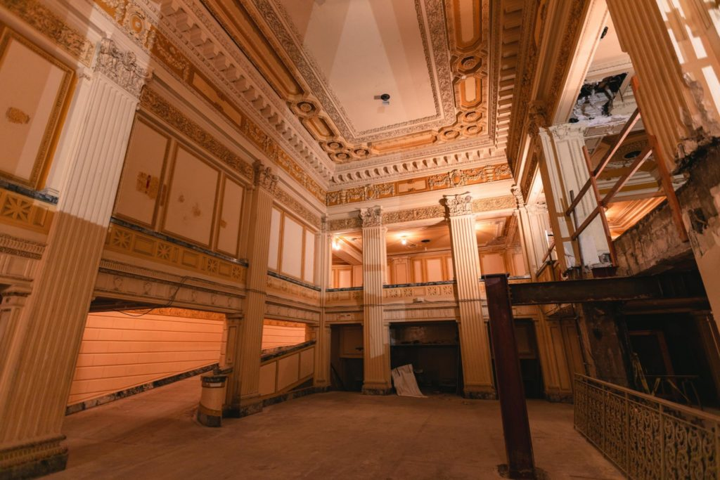 The Utah Theater foyer in 2020. Photo by Ricci Anderson, courtesy J. Willard Marriott Library, University of Utah via Pantages Theatre Archive. Digital Image © 2020 University of Utah. All Rights Reserved.