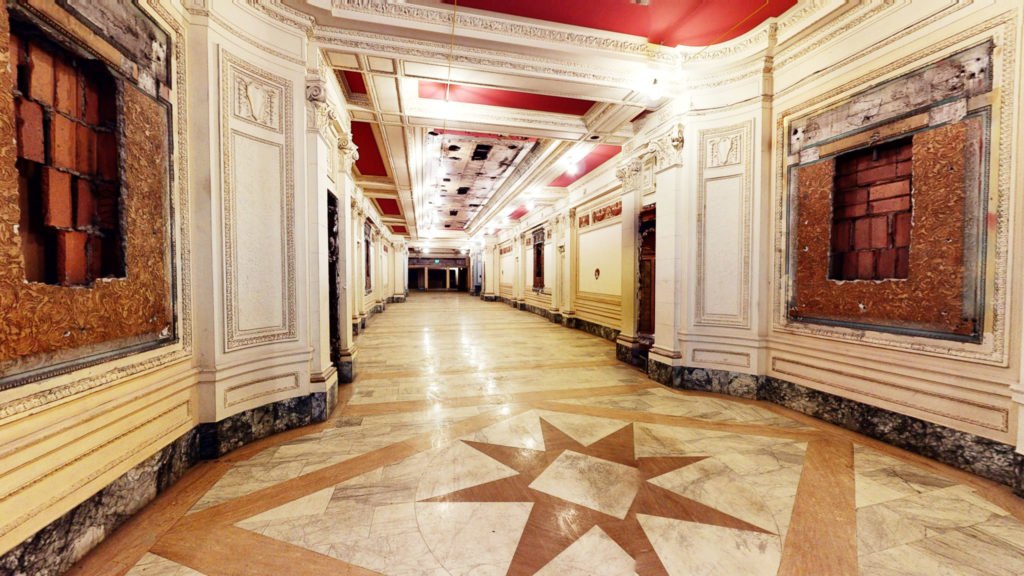 Photo from lobby of the Utah Pantages Theatre. Photo from Matterport camera by Owen Butler.