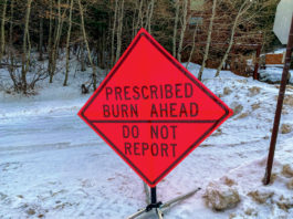 Prescribed Burn Ahead sign; Park City is preparing for another wildfire season