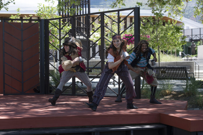 Trey Plutnicki, Raven Flynn, and André Spathelf-Sanders as Featured Performers in the Utah Shakespeare Festival's 2021 production of The Greenshow.