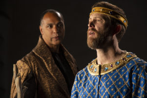René Thornton Jr. as Gower and Danforth Comins as Pericles in the Utah Shakespeare Festival's 2021 production of Pericles