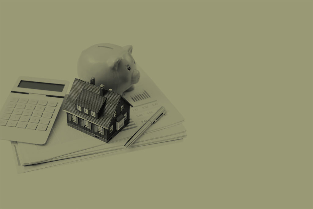 Graphic with piggy bank, house and calculator