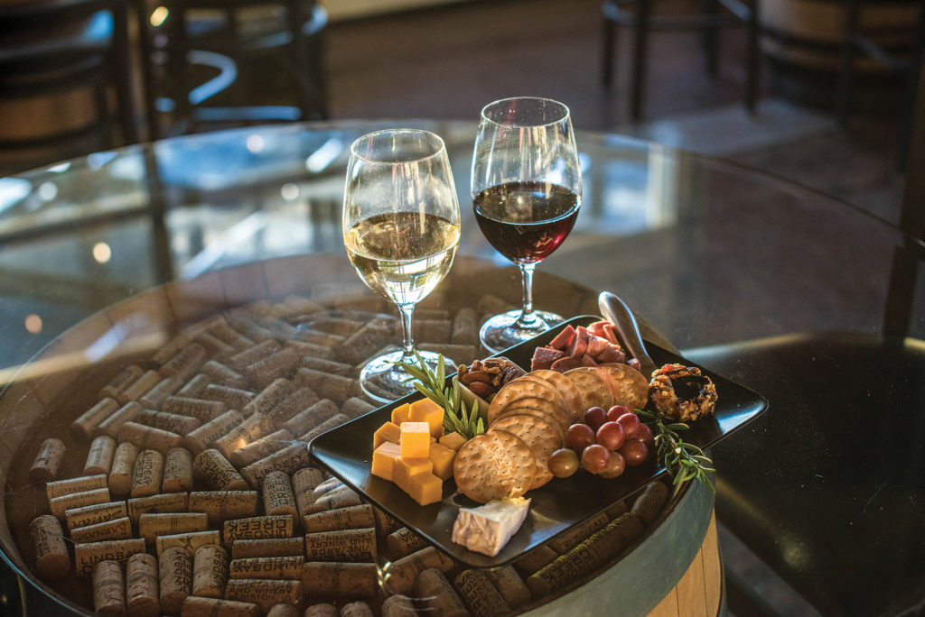 A charcuterie board and wine from Lindsay Creek Vineyards in Lewiston