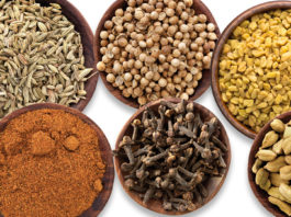 Indian spices: Carom seeds, Cloves, Coriander, Cardamom, Mace and Fenugreek
