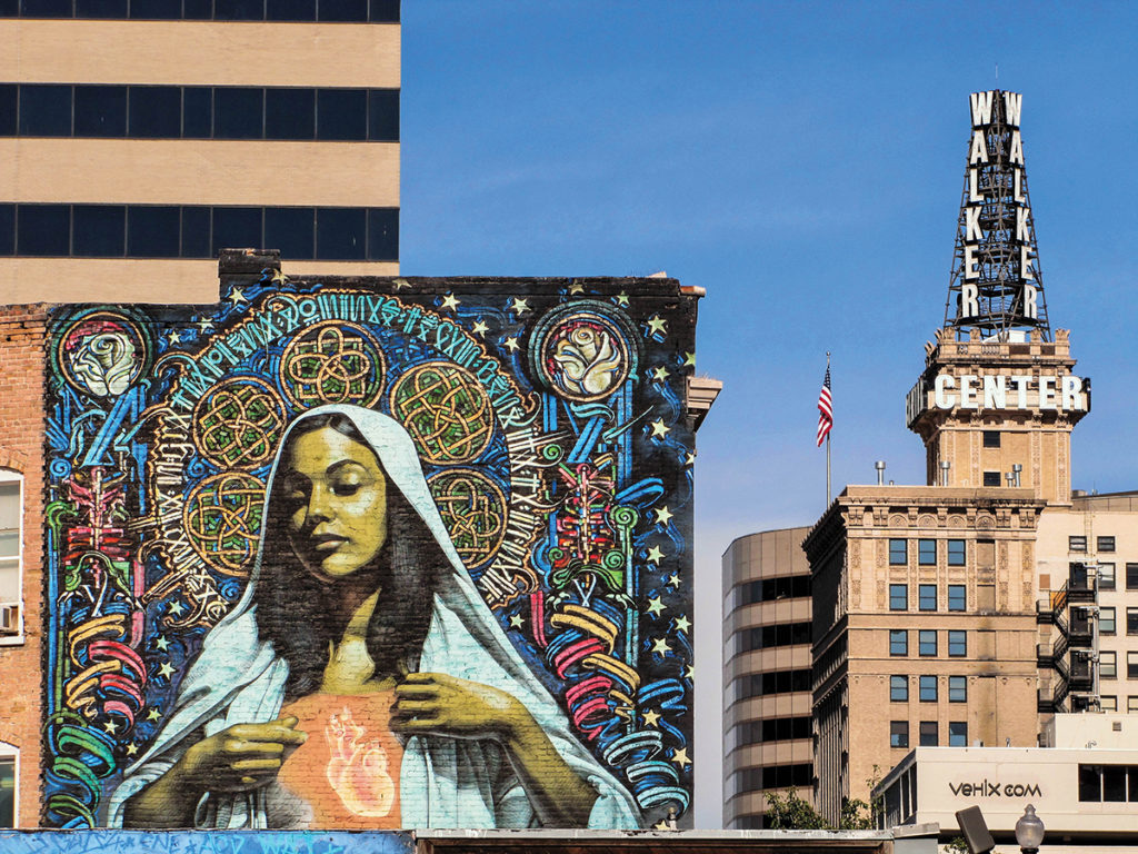 Mural, commissioned by Corey Bullough, of the Virgin Mary.