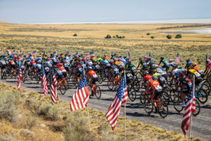 The peloton rolls out for the start of stage 3 on August 9, 2018 in Layton, Utah.