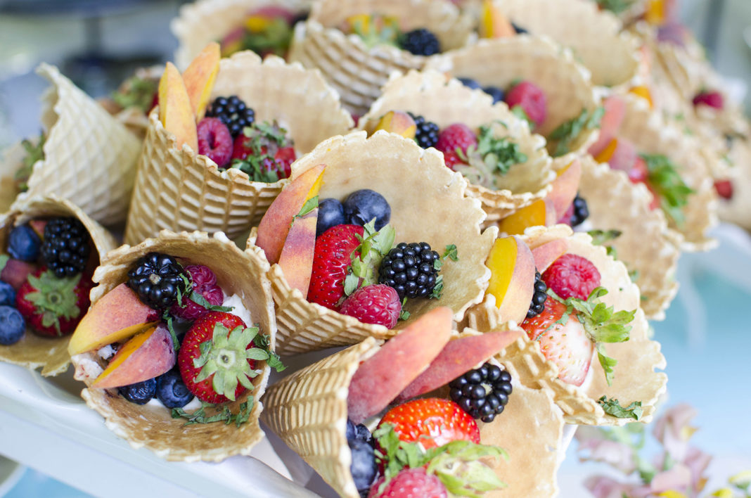 Culinary Crafts cones with yogurt, berries, peaches and mint