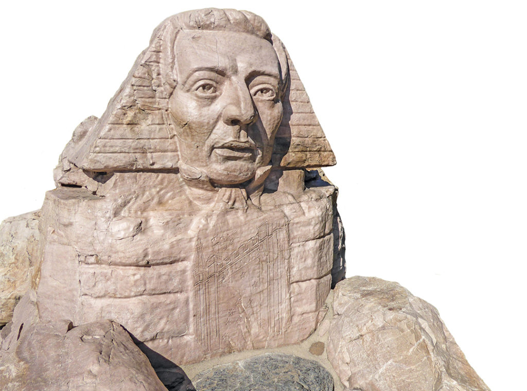 """The """"Sphinx-Smith"""" which replicates the famous Egyptian sphinx with the face of Joseph Smith."""