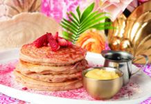 Strawberry ricotta pancakes with lemon curd, pure maple and whipped butter from Sunday's Best