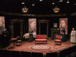 """Colleen Baum, Susanna Florence, Yolanda Stange, and Tamara Howell in """"Four Women Talking About the Man Under the Sheet"""" by Elaine Jarvik."""