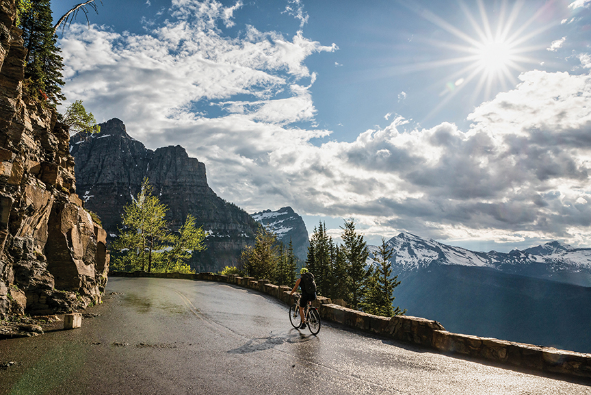 Biking Going-to-the-Sun Road. Photo by Montana Office of Tourism and Business Development.