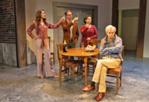 """Laura Hall, Ben Cherry, Elizabeth Ramos and T. Ryder Smith in """"Ass"""" at Pioneer Theatre Company"""