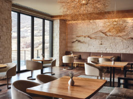 Tumbleweed Pendants created by Owen Mortensen make a bold statement in Yuta, the signature restaurant at The Lodge at Blue Sky in Wanship